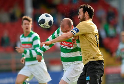 Eamon Zayed, Shamrock Rovers, in action against Anthony Kavanagh, Sherriff YC