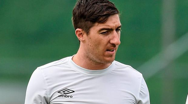 Stephen Ward trained with the rest of the Ireland squad yesterday and will start tomorrow's game at left-back. Photo: David Maher / SPORTSFILE