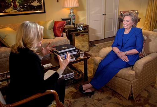 Hillary Clinton talks with ABC News anchor Diane Sawyer for her first television interview in conjunction with the release of her new book titled