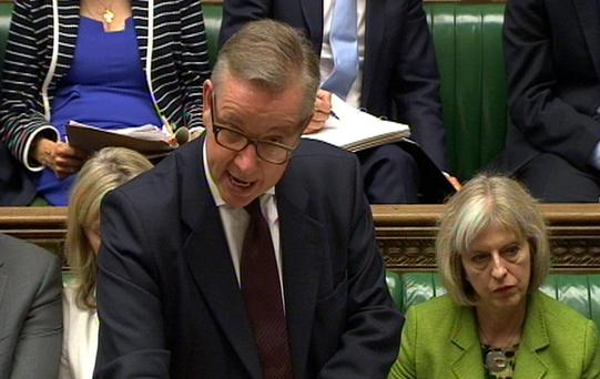 Education Secretary Michael Gove speaks in the House of Commons, London, after Ofsted placed five Birmingham schools into special measures in the wake of the 'Trojan Horse' allegations, as it issued a damning verdict on the running of a number of the city's schools. PA