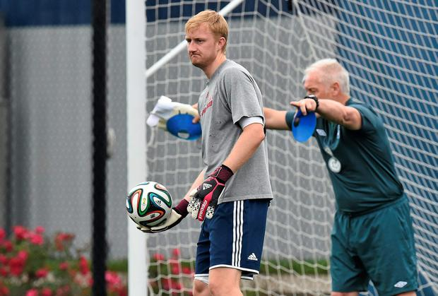 New York Red Bulls goalkeeper Ryan Meara training with the Ireland goalkeeping coach yesterday. He first expressed an interest in declaring for Ireland back in 2012 when he broke through to become the MLS side's first-choice goalkeeper. Photo: Jim David Maher / SPORTSFILE