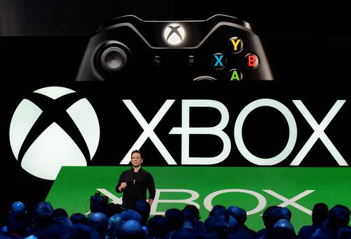 Phil Spencer, head of Microsoft's Xbox division and Microsoft Studios, speaks during the Xbox E3 Media Briefing at the University of Southern California's Galen Center in Los Angeles