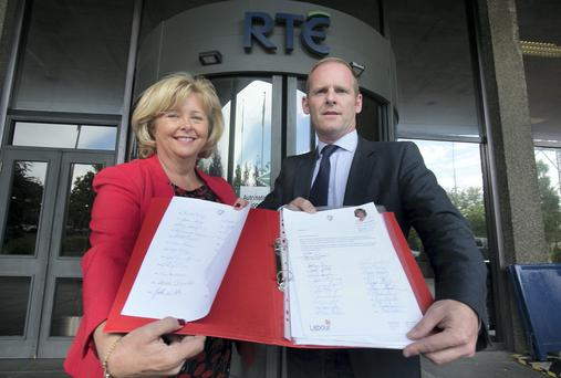 Labour Senator Mary Moran with RTE's head of sport Ryle Nugent. Photo: Gareth Chaney Collins