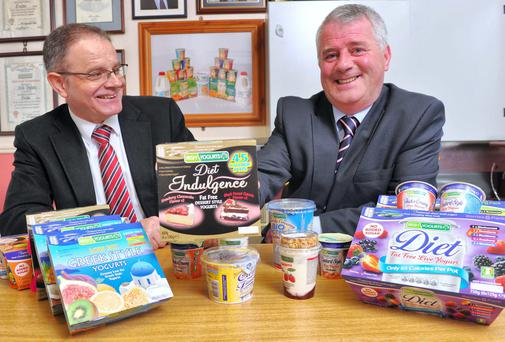 At the Munster launch of the Business Achievers Awards are Tom Leahy, regional director of business banking at Ulster Bank, and Diarmuid O'Sullivan, managing director of Irish Yogurts, national winner of the 'Food and Drink' award in 2012