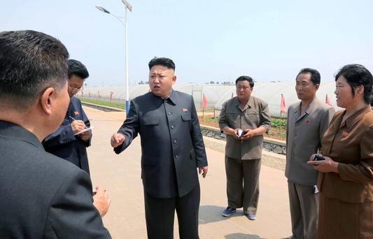 North Korean leader Kim Jong Un gives field guidance to the Jangchon Vegetable Co-op Farm in the Sadong District of Pyongyang in this undated photo released by North Korea's Korean Central News Agency (KCNA) June 10, 2014. Reuters/KCNA