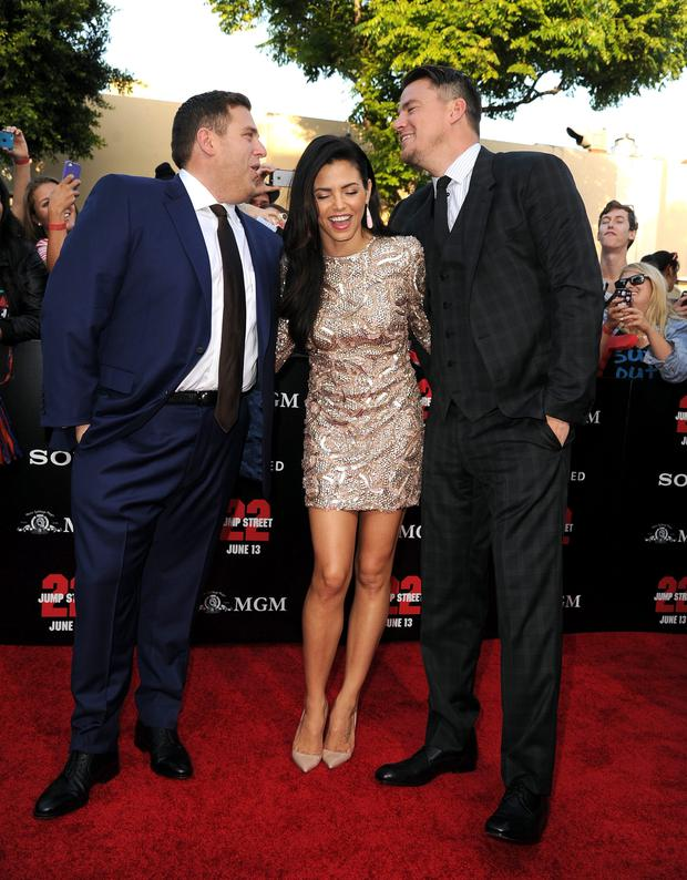 Actors Jonah Hill, Jenna Dewan-Tatum and Channing Tatum attend the Premiere Of Columbia Pictures'