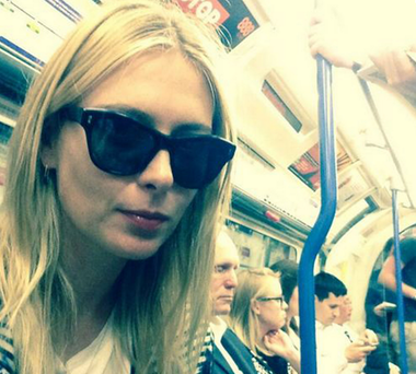 The Russian tennis star manages to go incognito on the London Undergroun