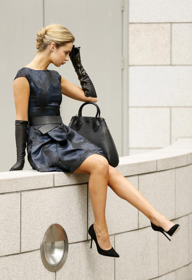 Raoul 'Francis' belted dress, €400, gala leather gloves, €160, Pour la Victoire tote, €435, Arnotts