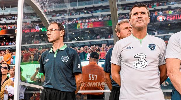 Republic of Ireland manager Martin O'Neill and assistant manager Roy Keane during the playing of the National Anthem