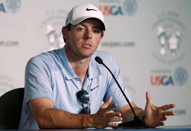 Rory McIlroy speaks during a news conference ahead of tomorrow's first round of the U.S. Open Championship golf tournament in Pinehurst, North Carolina. Reuters/Mike Segar