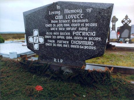 The headstone of Ann Lovett, in Granard, Co Longford