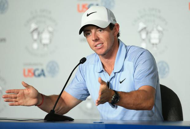 Rory McIlroy of Northern Ireland is interviewed during a press conference prior to the start of the 114th U.S. Open at Pinehurst Resort & Country Club, Course No. 2 in Pinehurst, North Carolina. (Photo by David Cannon/Getty Images)