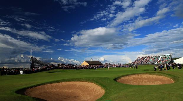The 18th green as the sun lights up the view after the afternoon storms during the first round of the 2012 Irish Open held on the Dunluce Links at Royal Portrush Golf Club in Portrush, Northern Ireland. (Photo by David Cannon/Getty Images)