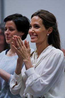 US Actress and Special Envoy of the United Nations High Commissioner for Refugees, Angelina Jolie. (Photo by Lefteris Pitarakis - WPA Pool/Getty Images)
