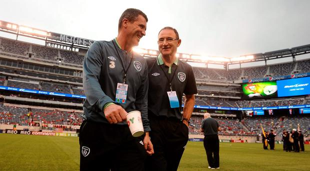 Republic of Ireland manager Martin O'Neill, right, and his assistant Roy Keane