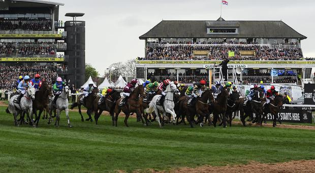 The starter waves his flag to signal a flase start in The Crabbie's Grand National Steeple Chase at Aintree racecourse in Liverpool, England. (Photo by Alan Crowhurst/Getty Images)