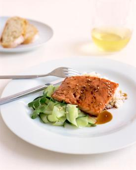 Replace red meat protein with protein sources in fish.