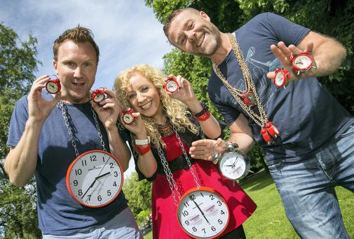 """Jason Byrne, Niamh Marron and Eric Lalor making """"Time for a Laugh"""" at the official launch of this year's Vodafone Comedy Festival which takes place from Thursday 24th to Sunday 27th July 2014."""