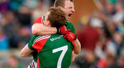 Mayo's Colm Boyle and Donal Vaughan celebrate after beating Roscommon in Sunday's Connacht SFC clash. Photo: Matt Browne / SPORTSFILE