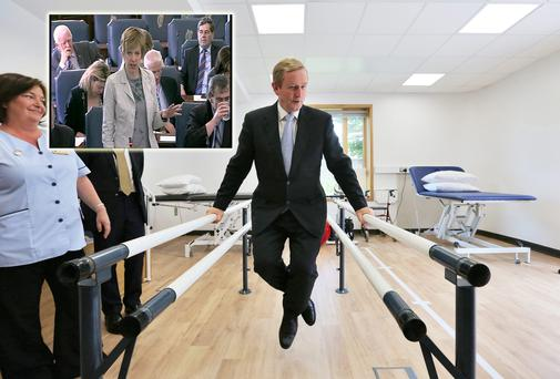 Taoiseach Enda Kenny on the walking rails in the Physiotherapy Room after he opened a new Day Hospital for Care of the Elderly at St. Joseph's Hospital Raheny yesterday and (inset) Ivana Bacik in the Seanad yesterday
