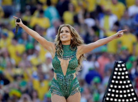 Pop star Jennifer Lopez performed in the stadium at Sao Paolo before the opening World Cup game between Brazil and Croatia. AP