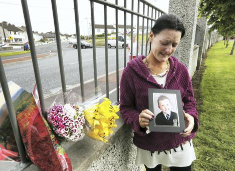 The distraught mother of little Jake Brennan (6), Roseanne Brennan pictured at Lintown Grove, where he died after a road accident there yesterday.