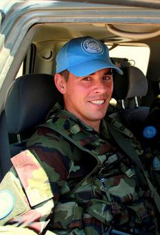 Cpl Chris Walsh, B Company, UNIFIL Lebanon. From Wexford Town. Kids Erin 2, Seamús 3 months, Love Dad