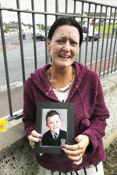 The distraught Motherof little Jake Brennan (6), Roseann Brennan pictured at Lintown Grove, where he died after a road accident there yesterday.