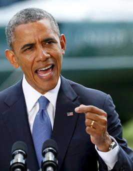 US President Barack Obama delivers a statement on the situation in Iraq. Photo: Reuters/Kevin Lamarque