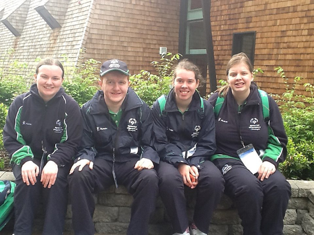 Amy Cassidy, Eamonn Bennett, Martina Duffy and Chelsea Passco from St Michael's College in Castlrea who sat their Junior Cert home economics exam in Crescent Community College in Dooradoyle after competing in the Special Olympics