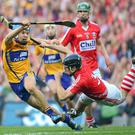 Clare's Shane O'Donnell in action against Shane O'Neill of Cork in last year's All-Ireland final replay at Croke Park. Photo: Paul Mohan / SPORTSFILE