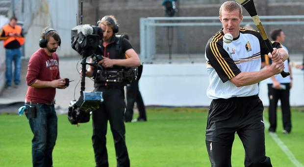 Kilkenny's Henry Shefflin is filmed by Sky Sports ahead of last week's Leinster SHC quarter-final against Offaly at Nowlan Park. Sky's arrival has again opened up the debate about the amateur ethos at the heart of the association. Photo: Brendan Moran / SPORTSFILE