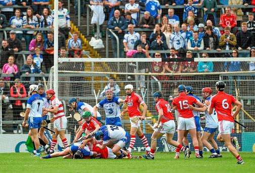 Players tangle off the ball after Cork goalkeeper Anthony Nash had a penalty saved by Waterford stopper Stephen O'Keeffe in last weekend's Munster SHC quarter-final. Photo: Diarmuid Greene / SPORTSFILE