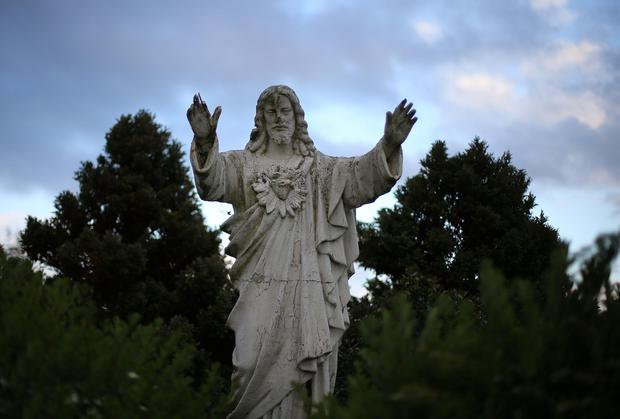 A statue of Jesus in the grounds of the Sean Ross Abbey in Roscrea, Tipperary. Photo: Niall Carson/PA Wire
