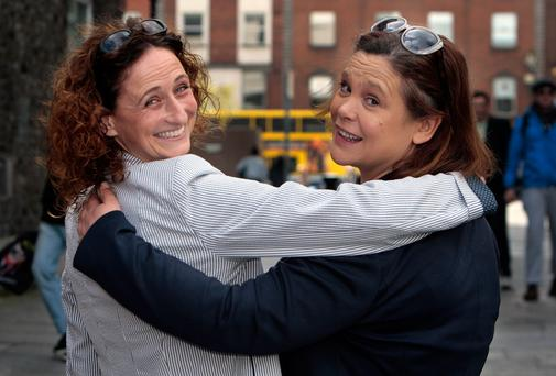 Mary Lou McDonald , deputy leader of Sinn Fein, pictured with MEP Lynn Boylan.