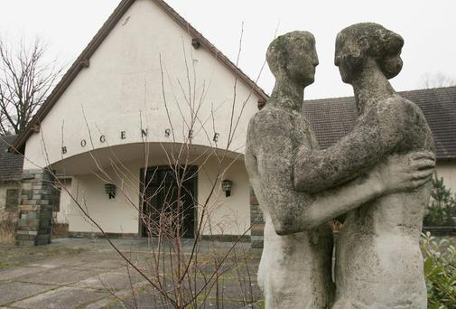 A statue, most likely erected after World War II, stands outside the former Waldhof am Bogensee, the former weekend house of Nazi propaganda minister Joseph Goebbels
