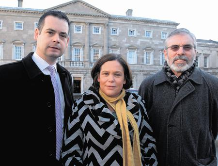 NEW TAX RATE: From left; Sinn Fein finance spokesman Pearse Doherty, deputy leader Mary Lou McDonald and Sinn Fein president Gerry Adams. The party proposes an increase in the top rate of income tax to 48pc. Photo: Tom Burke