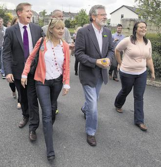 POLL SUPPORT: Sinn Fein leader Gerry Adams with Louth councillors Tomas Sharkey, Imelda Munster and Edel Corrigan. Photo: Tom Conachy
