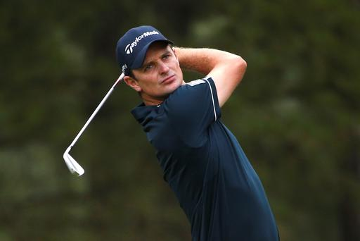 Justin Rose of England watches his tee shot on the 10th hole during the first round of the U.S. Open Championship golf tournament in Pinehurst
