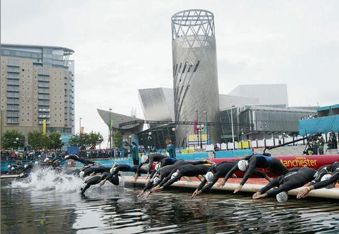Competitors at the 2002 Commonwealth Games in Manchester.