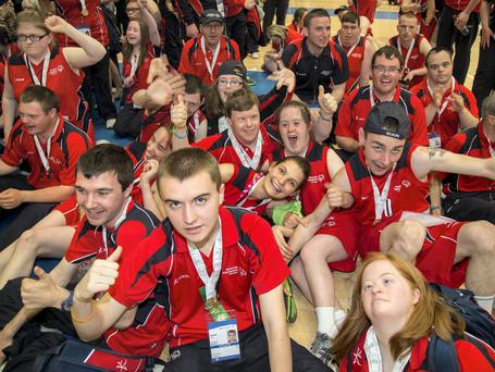 Team Munster enjoying yesterday's closing ceremony at the Ireland Special Olympics held in Limerick. Photo: Alan Place/Fusionshooters
