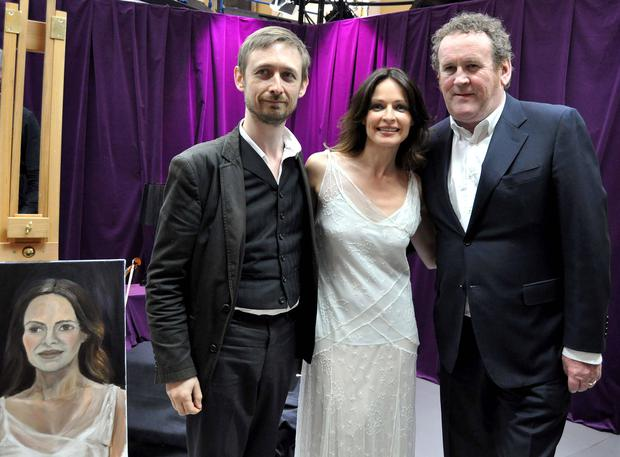 Neil Hannon, Sharon Corr and Colm Meaney, who sat as models for the Irish heats of Sky Arts 'Portrait Artist of the Year 2014', at the Irish Museum of Modern Art, Kilmainham, Dublin.