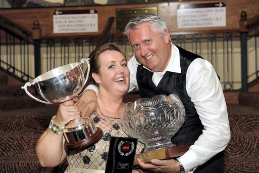 Oliver Hurley with his 'Best Director' prize and wife Geraldine Heaslip with her 'Best Ensemble' gong at the AIMS awards in Killarney. Photo: Don MacMonagle