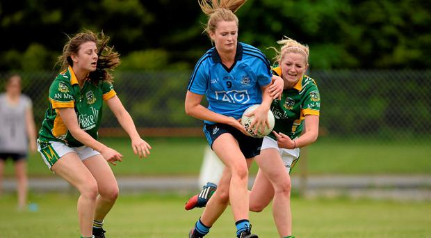 Sarah McCaffrey Dublin, in action against Emma Troy, left, and Aideen Guy, Meath