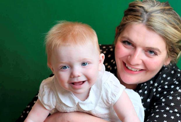 Writer Bryony Gordon with her daughter, Edie, at home in Clapham, south London.