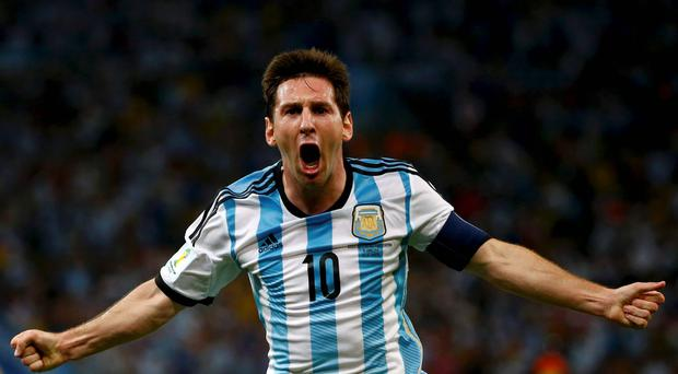 Argentina's Lionel Messi celebrates scoring a goal during the match against Bosnia and Herzegovina at the Maracana stadium in Rio de Janeiro. Reuters