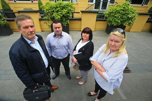 Pictured after a meeting at The Tower Hotel, Waterford city at the beginning of this month where SIPTU and employees of Bausch & Lomb met Waterford policitians for support. Pictured here are Alan Dillon SIPTU, John Curran, Gemma Mackey and Pauline King employees of Bausch & Lomb. Picture: Picture: Patrick Browne