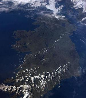 Ireland's current fine weather is visible in the snap, with only a few clouds covering the south-west of the country.