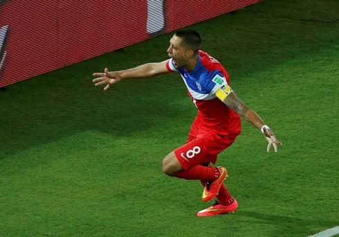 Clint Dempsey of the U.S. celebrates his goal against Ghana