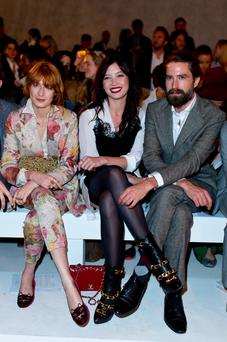 (L-R) Florence Welch, Daisy Lowe and Jack Guinness attends the Casely-Hayford show during the London Collections: Men SS15